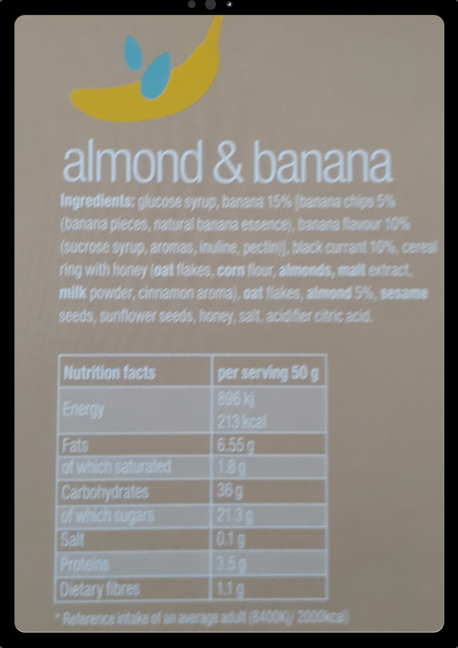 almond banana ingredients