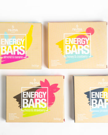 bars starter pack consists of almond and banana, honey cranberry, choco strawberry, protein